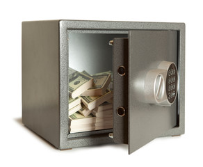 bank safe isolated on white