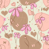 Pink flowers and hearts seamless pattern