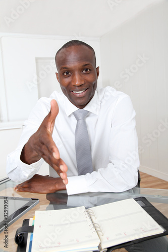 Businessman in office for an interview