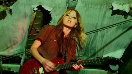 Emotional guitarist plays guitar