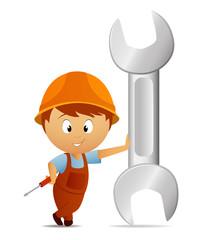 Cartoon handyman with huge big wrench