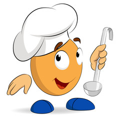 Cartoon abstract cute character cook chef