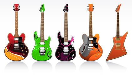 Five beautiful electric guitars
