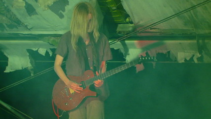Guitarist in smoke