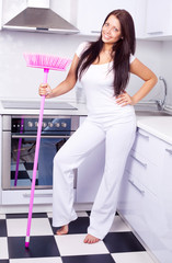 housewife with a broom