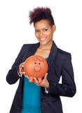 African girl with a big moneybox poster