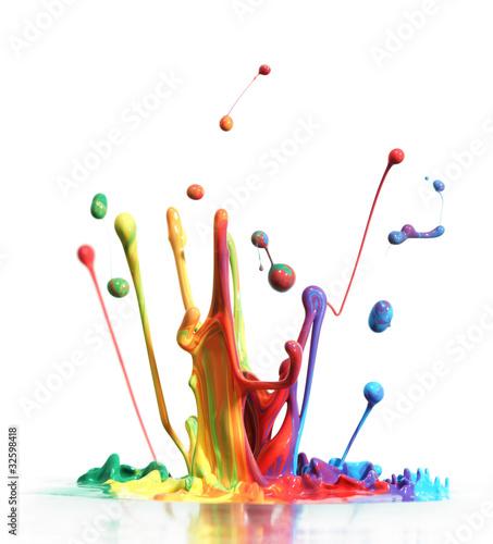 Fototapety, obrazy : Colorful paint splashing isolated on white