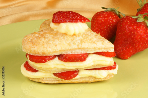 Strawberry and custard millefeuille