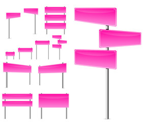 set of pink blank road sign isolated on white background