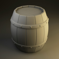 white 3d wine a barrel.