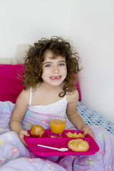 awakening bed breakfast brunette children girl