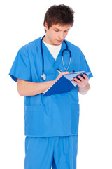 serious nurse boy with notepad