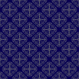 Gold On Prussian Blue Damask Seamless Pattern