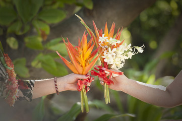 two bridal flower bouquets of birds of paradise