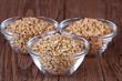 Mehrkorn, Dinkel Korn und Weizen Korn in Schälchen frontal