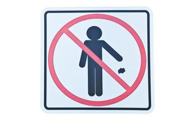 Do Not Litter Sign isolate on white background