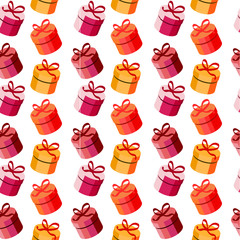 Seamless pattern with red and yellow gift boxes
