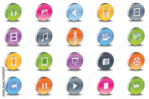 Vector 3d Oval Multimedia Bevel Icons