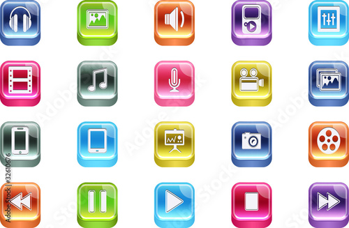 Vector 3d Quadrat Multimedia Inset Icons