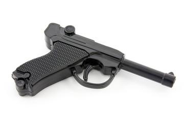 black plastic gun isolated on white background.