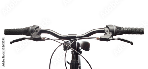 Handlebars of a mountain bicycle. Isolated