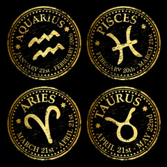 Aquarius, Pisces, Aries and Taurus rubber stamp illustrations