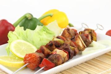 Grilled meat and vegetable skewer