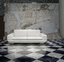 Grunge wall white sofa