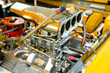 powerful race vehicle engine and blower closeup