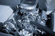 blue toned powerful chromed auto engine