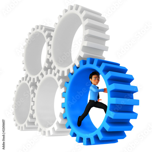 3D man running in cogwheels