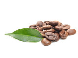 coffee grains and leaf