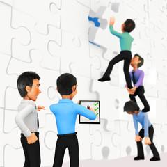 3D businessmen assembling a puzzle