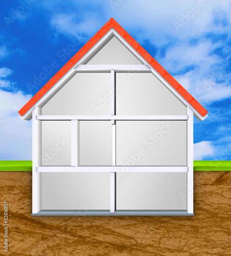 Haus Querschnitt Einfamilienhaus leer