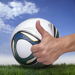 Women´s World Cup ball and thumb up