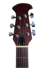 An acoustic guitars headstock