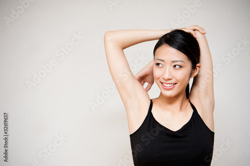 beautiful asian woman exercising