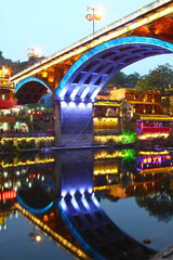 Fenghuang ancient town in Hunan Province at night