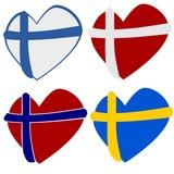 Scandinavian heart shapes poster