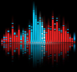 color digital sound equalize isolated on black background