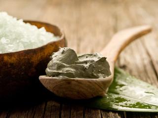 bath minerals and mud wellness concept