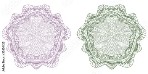 Guilloche - Rosetten, Set, Symbole, Rosetta, Sicherheit, Muster