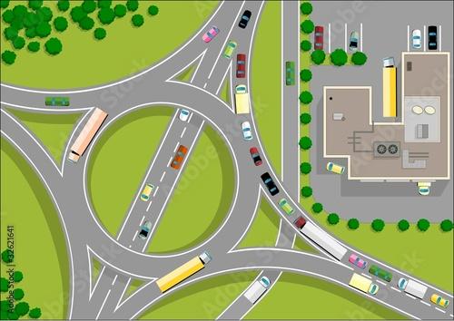 Foto op Plexiglas Op straat traffic roundabout