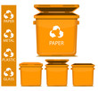 set of vector orange recycle garbage