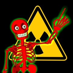Red skeleton with symbol of radiation warning