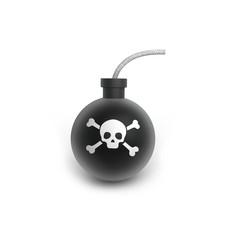 Black iron bomb in old stile on white