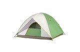 an isolated camping tent green and white in a white background