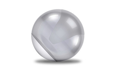 a silver fitball isolated against a white background