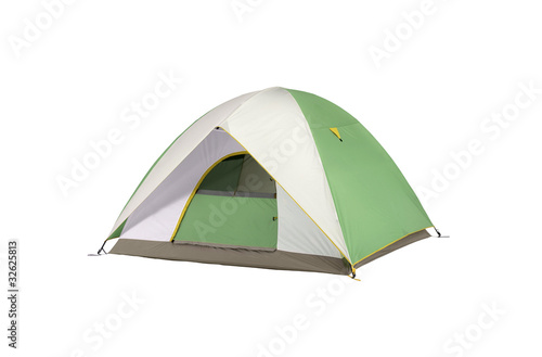 an isolated camping tent green and white in a white background - 32625813