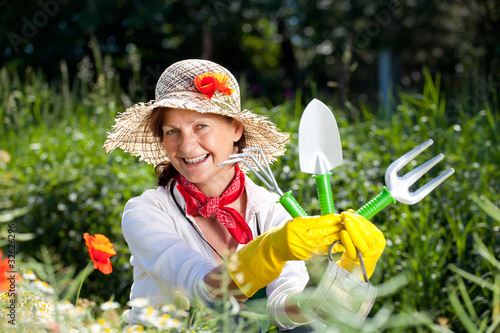 mature woman loves her garden
